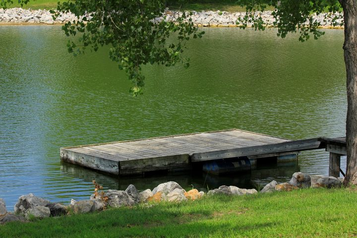 Fishing Dock with grass, and water - Robert D Brozek