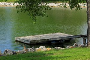 Fishing Dock with grass, and water