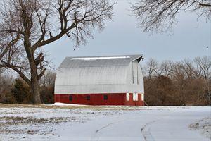 Kansas Red Barn in the Winter