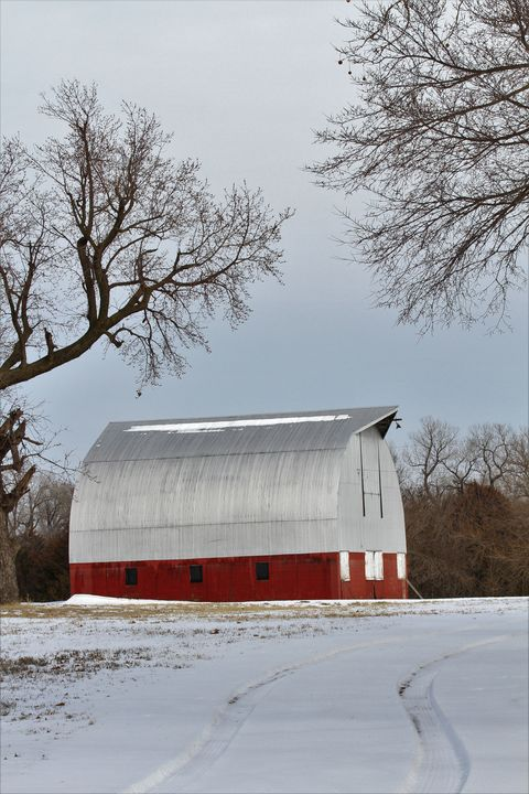 Kansas Red Barn in the Winter - Robert D Brozek