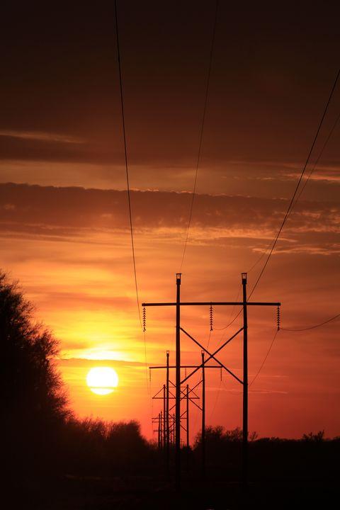 Kansas Sunset with Power Lines - Robert D Brozek