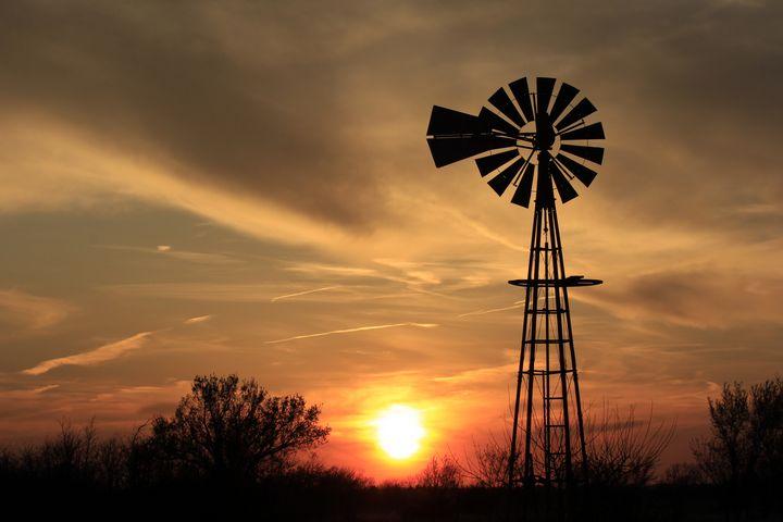 Kansas Sunset with a Windmill,Clouds - Robert D Brozek