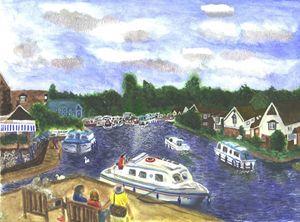 Norfolk Broads View from Wroxham Bri