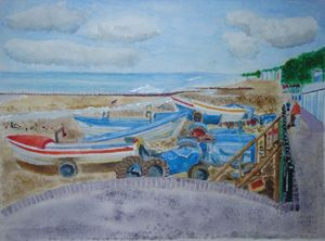 Tractors on Cromer Beach