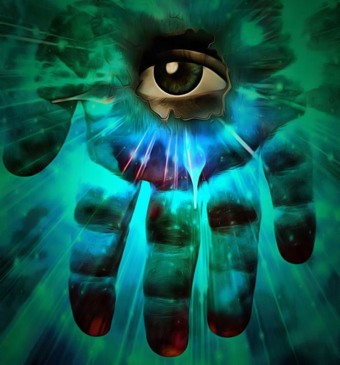 Eye on human palm - rolffimages