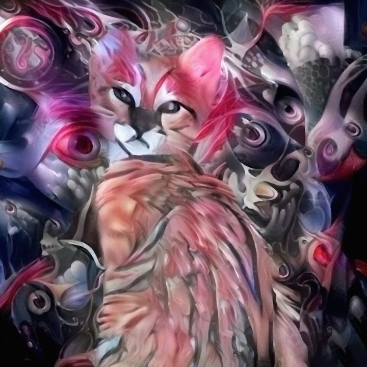 Abstract painting. Cute kitten - rolffimages