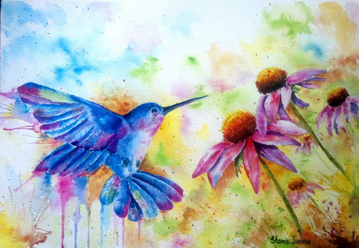 Humming bird - Paintings of Shamsi Jasmine