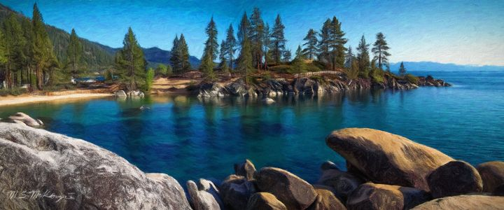 Boulder Strewn Beach III - Saco River Art & Photography