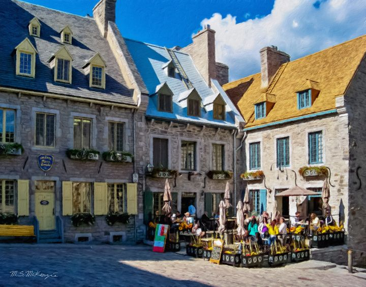 Cafe scene in Old Quebec City Canada - Saco River Art & Photography