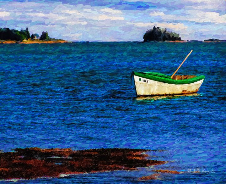 Lone Dory Off Wolfneck Freeport ME - Saco River Art & Photography