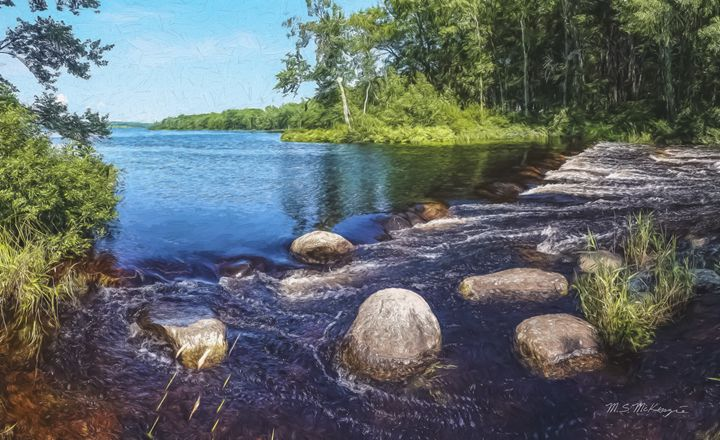 Boulders in The Stream Central Maine - Saco River Art & Photography
