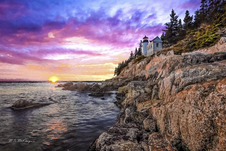 Sunset at Bass Harbor Light - Saco River Art & Photography