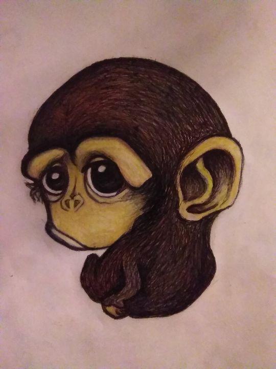 Sad Baby Monkey Hippie Art By Mama D Drawings