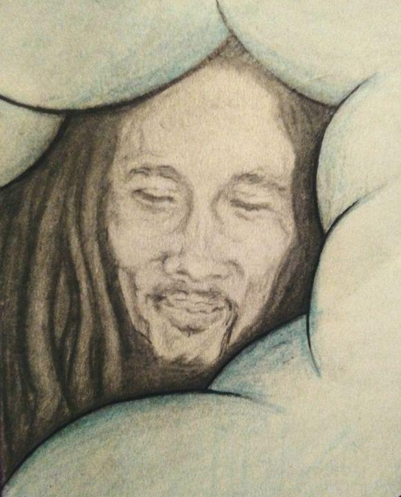 Bob Marley - Clouds - Hippie Art by Mama D