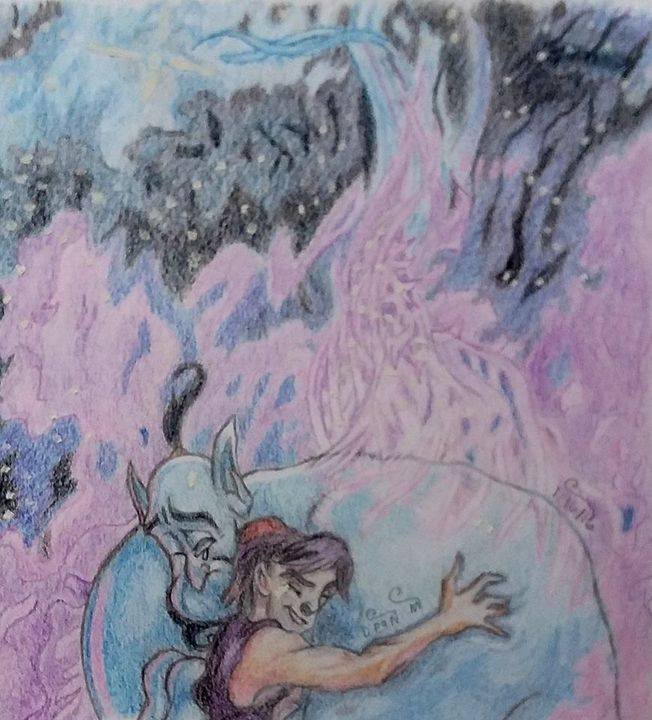 Drawing of Aladdin and the Genie - Art of Dean Murphy