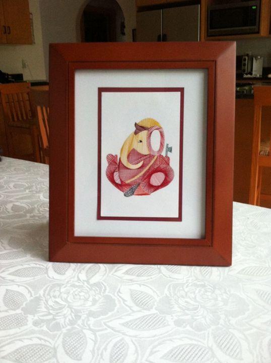 Ganesha Artwork in Red Frame - Ganesha Embroidered Using Toes!