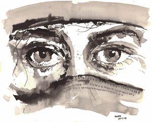 Sketch of a woman in burka 01