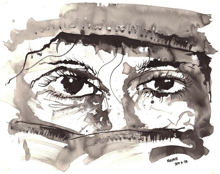 Sketch of woman in burka 02 - Morne Fourie