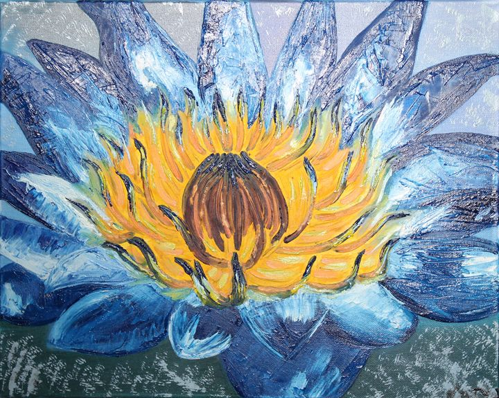 Blue Water Lily by Kateryna Udalykh - Kateryna Udalykh
