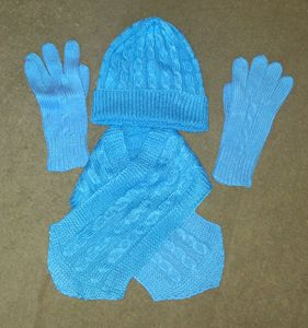 hat scarf gloves set, blue
