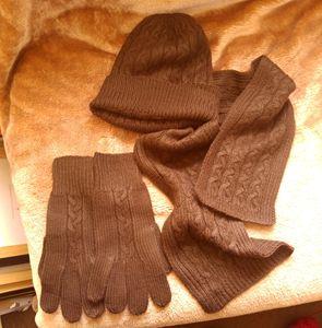 hat scarf gloves set brown
