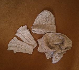 hat scarf gloves set gray