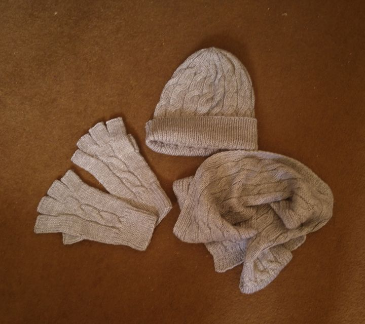 hat scarf gloves set gray - natalija's gallery