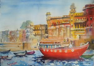 Docked at Banaras ghat