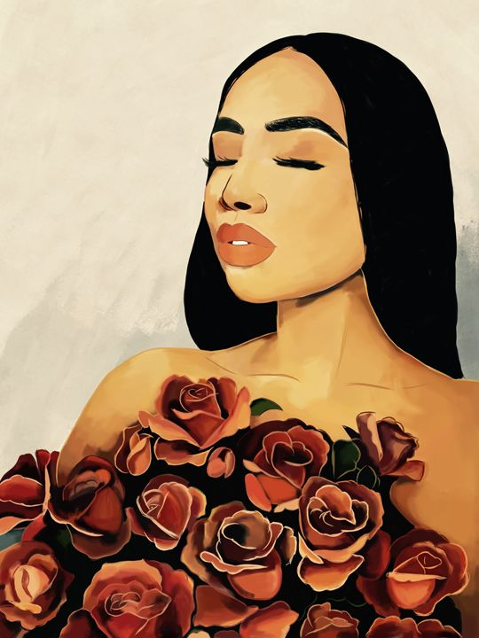 Gril in roses - Artwall