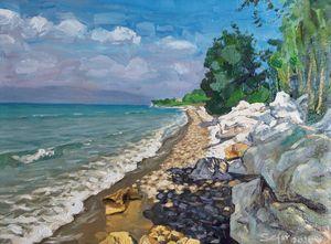 Beach Agnos in Corfu - Corfu Paintings by Sefer