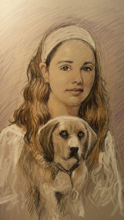 The girl with dog - Corfu Paintings by Sefer