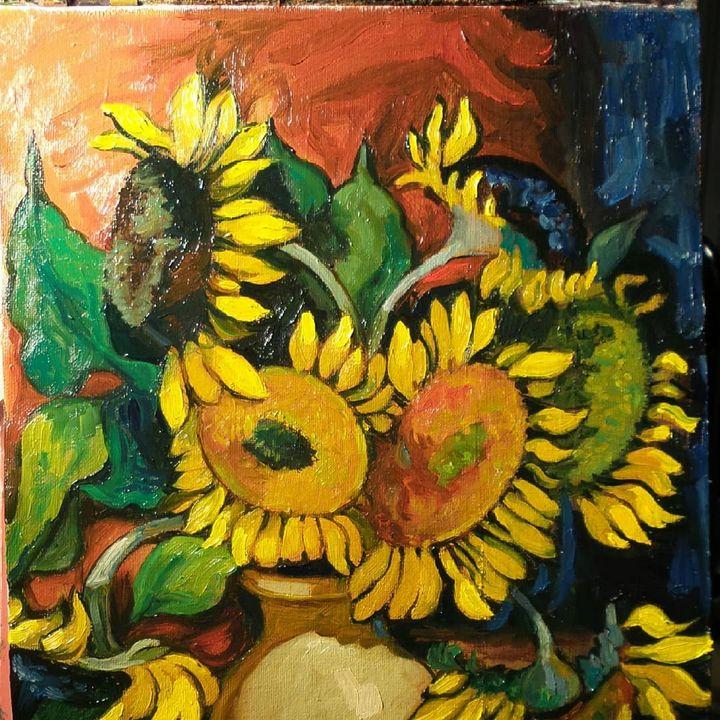 Sunflowers - Corfu Paintings by Sefer