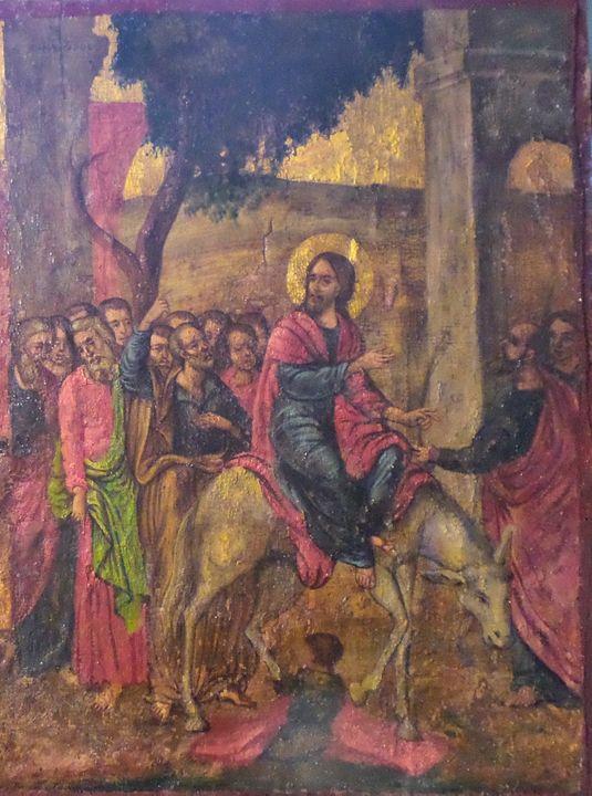 Jesus entry in Jerusalem - Corfu Paintings by Sefer