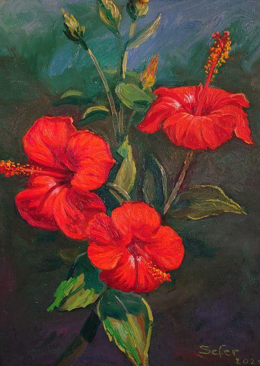 Hibiscus flowers - Corfu Paintings by Sefer
