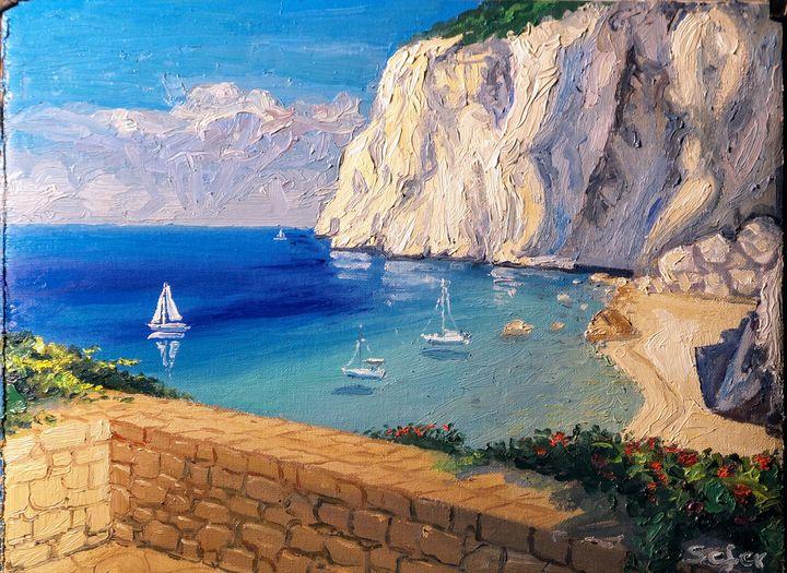 Erimitis beach Paxos Corfu - Corfu Paintings by Sefer
