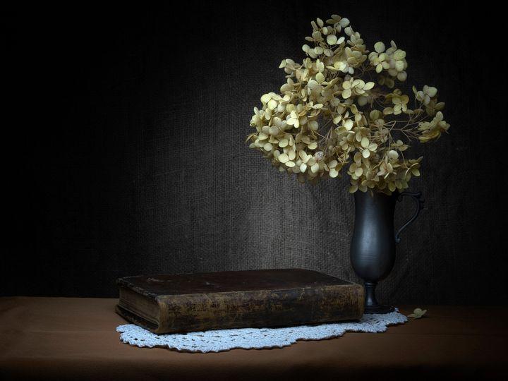 Melancholy, still life with old book - Judith Flacke Still Life