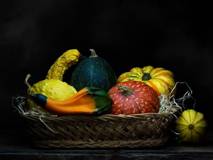 Ornamental gourds in basket. - Judith Flacke Still Life