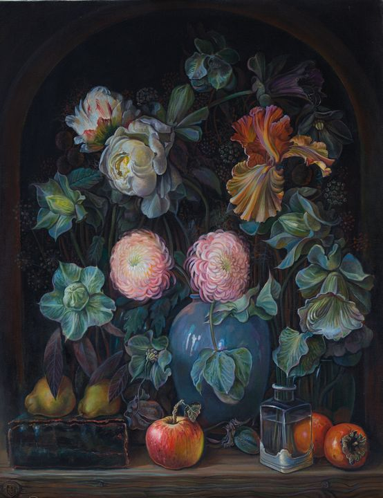 Flowers and fruits - Sergey Lesnikov art