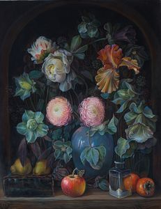 Flowers and fruits - Sergey Lesnikov art