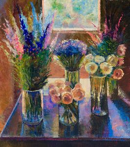 Flowers by the window - Sergey Lesnikov art