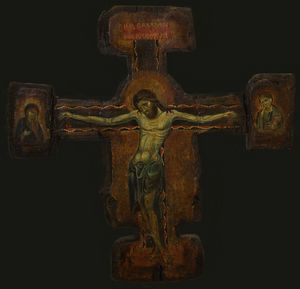 Cross with the Crucified Christ,copy - Sergey Lesnikov art