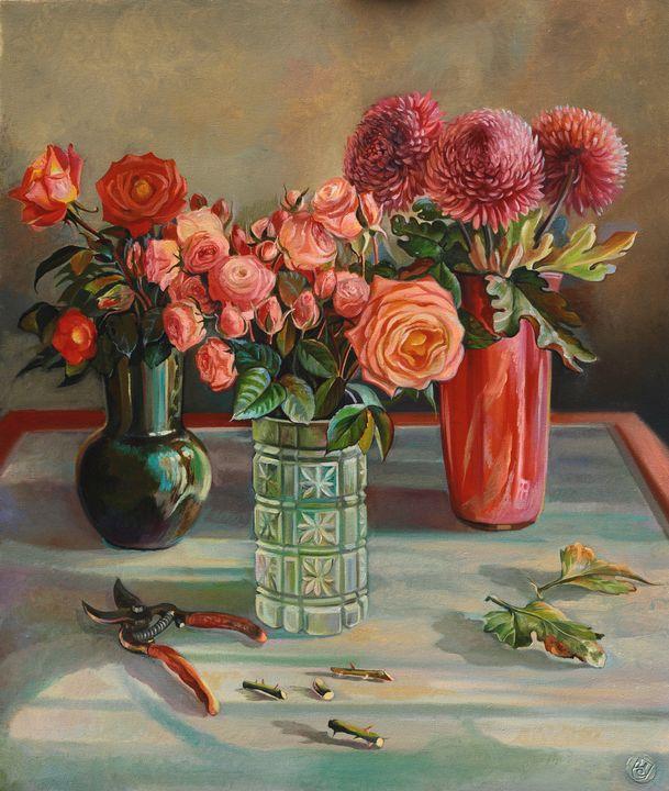 Autumn flowers - Sergey Lesnikov art