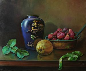 Still life with green ribbon