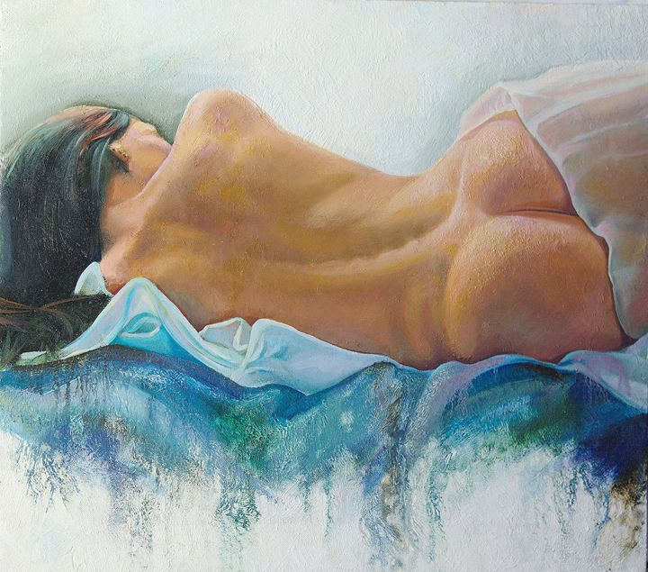 Brunette in Repose - Sergey Lesnikov art