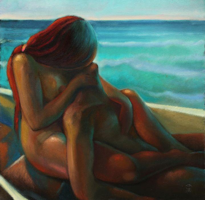 In the boat - Sergey Lesnikov art