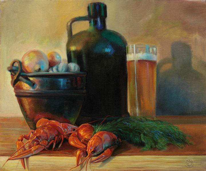 Still life with crayfish - Sergey Lesnikov art
