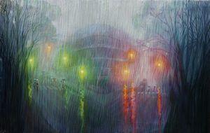 Driving rain - Sergey Lesnikov art