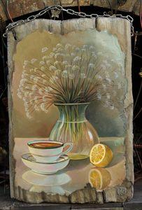 Light still life, oil on wood - Sergey Lesnikov art