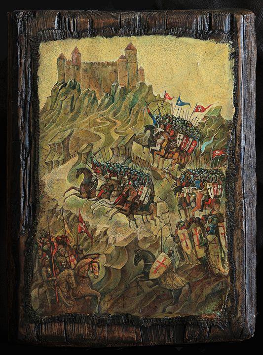 The siege of Montsegur Fortress,1244 - Sergey Lesnikov art