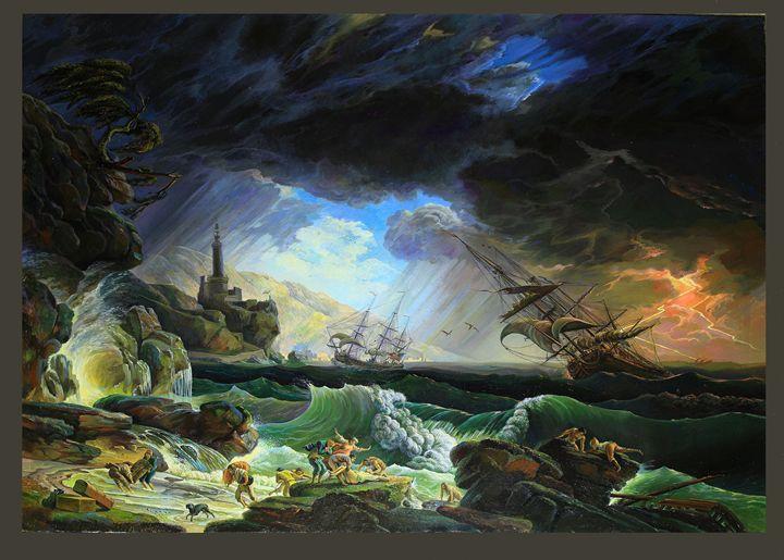 Vernet - A Shipwreck in Stormy Seas - Sergey Lesnikov art